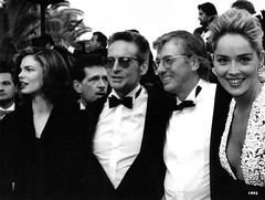 Jeanne Tripplehorn, Michael Douglas, Paul Verhoeven, Sharon Stone,  at the Premiere of Basic Instinct in Cannes