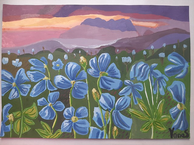 Blue Himalayan Poppy Field Painting