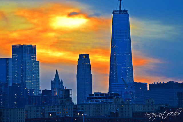 Freedom Tower WTC & Lower Manhattan View at Sunset from North 5th St Pier and Park Williamsburg Brooklyn New York City NY P00656 DSC_1483