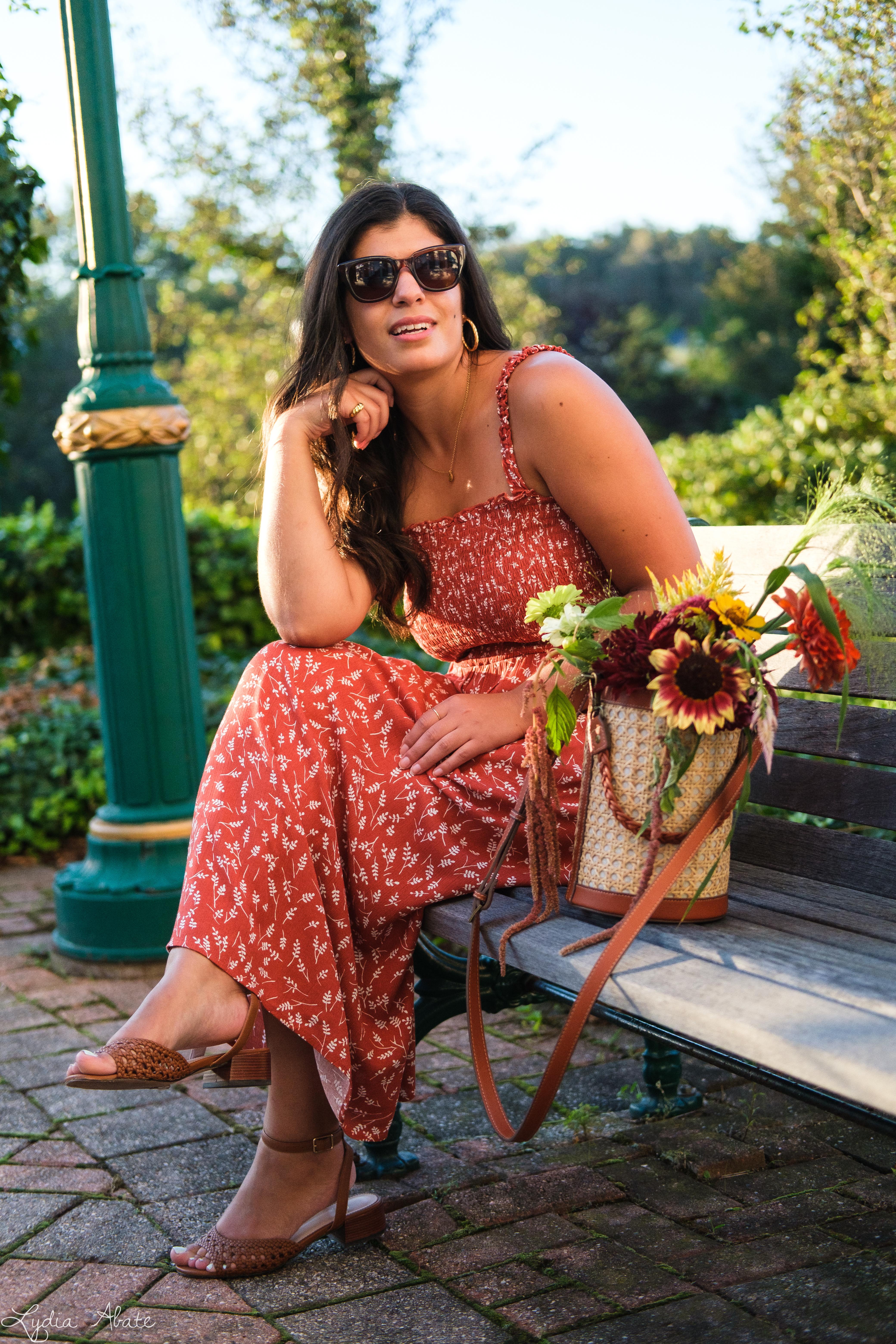 shirred rust floral maxi dress, caned bucket bag, brown sandals-2.jpg