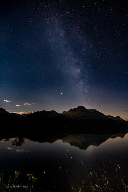Milky way on the Lej da Segl (Switzerland)