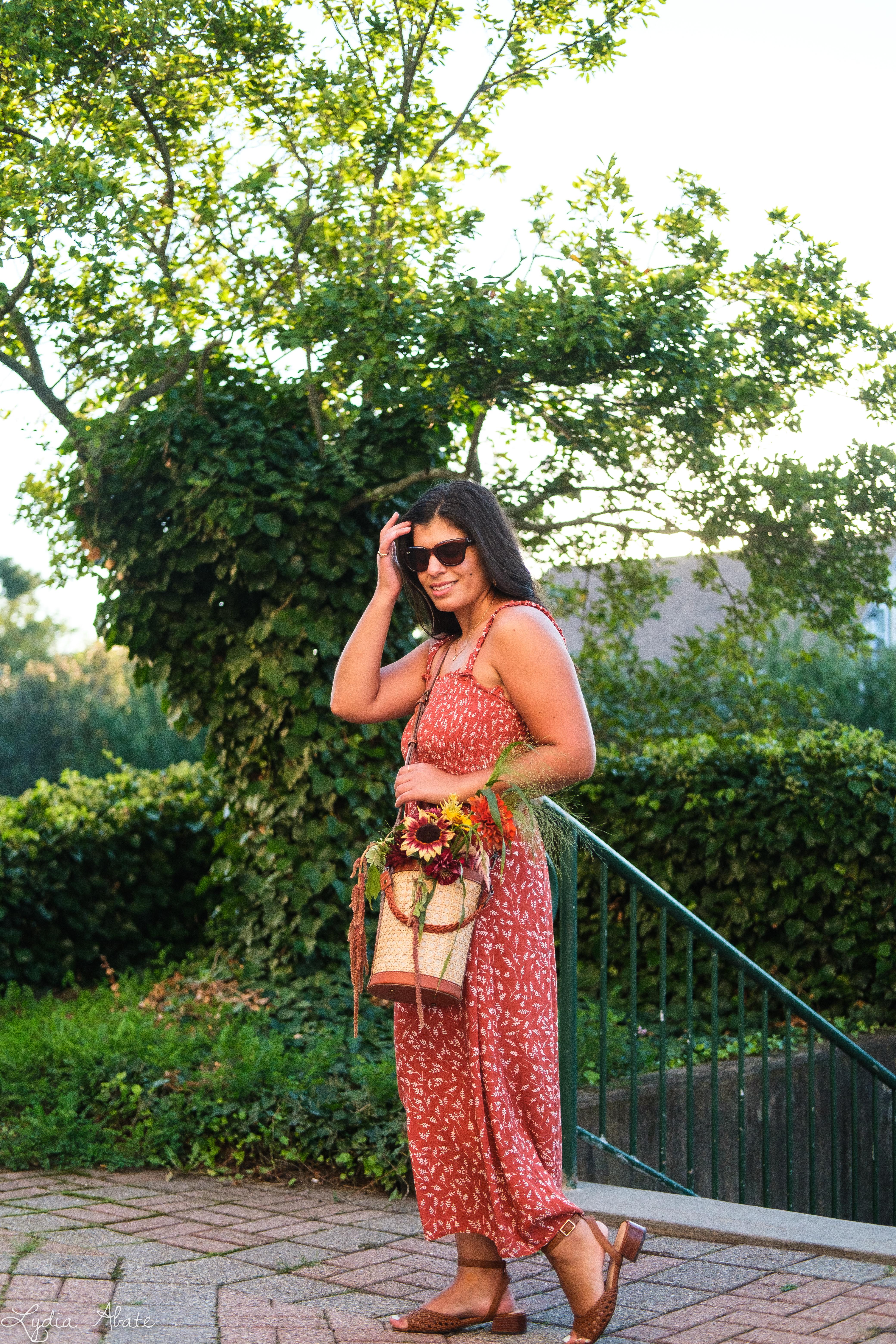 shirred rust floral maxi dress, caned bucket bag, brown sandals-9.jpg