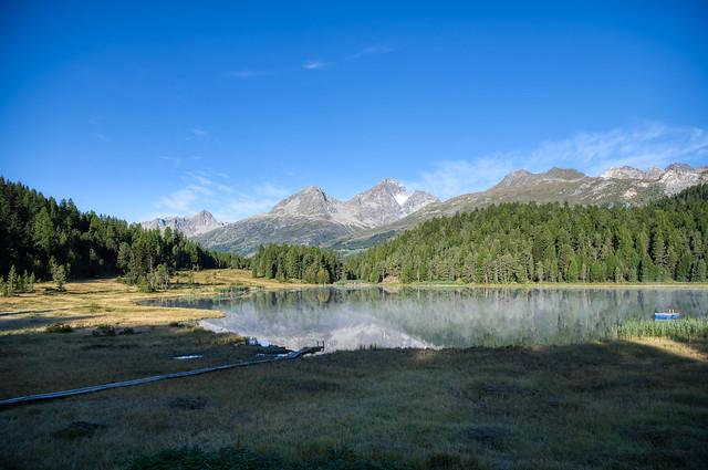 Lej da Staz - the sun has reached the lake