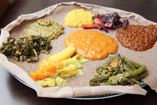 Vegetable combo, Lalibela Ethiopian Restaurant, Frederick Douglass Blvd, Manhattan
