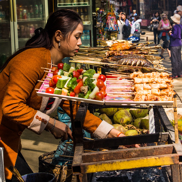 Street vendor, Laos