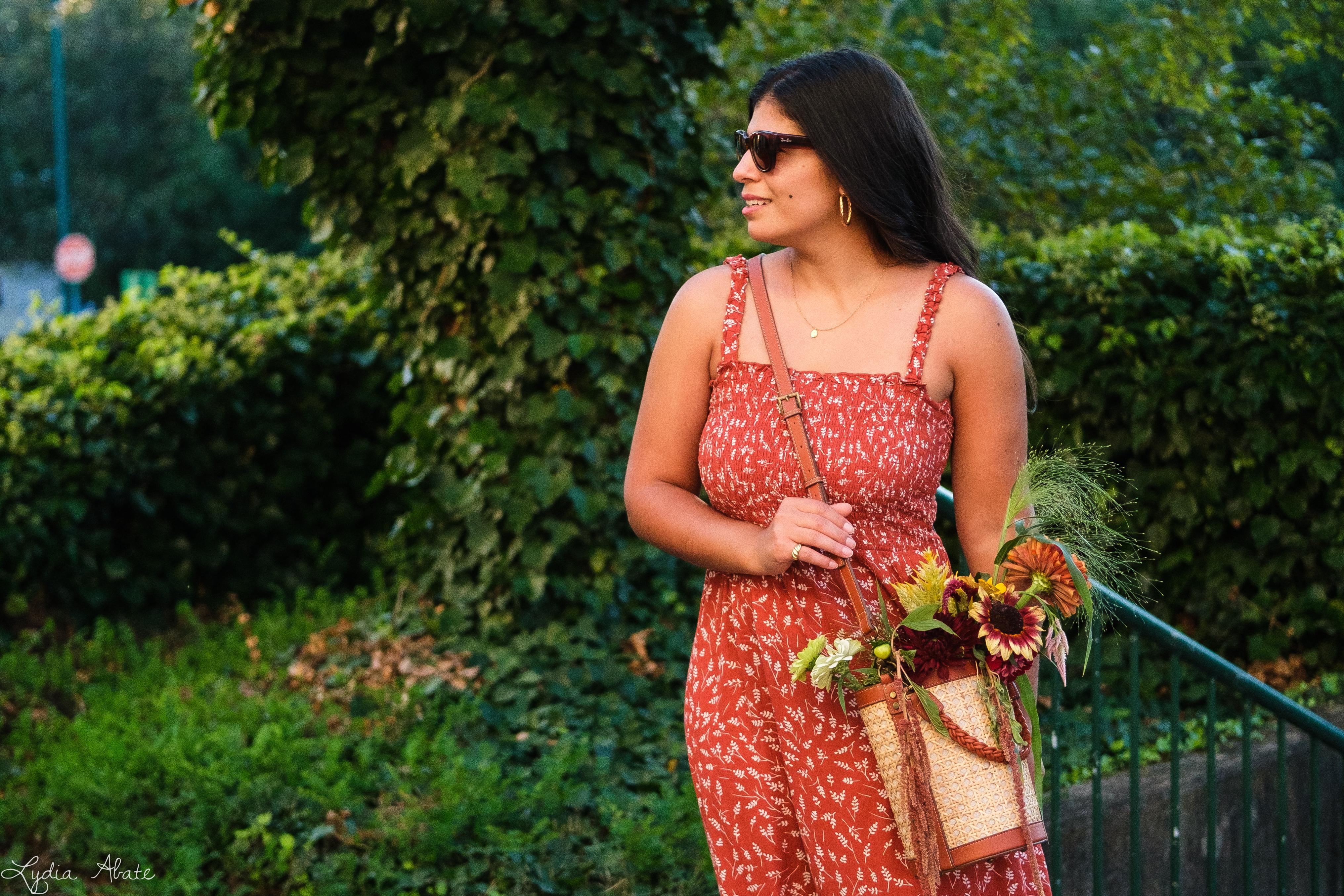 shirred rust floral maxi dress, caned bucket bag, brown sandals-8.jpg