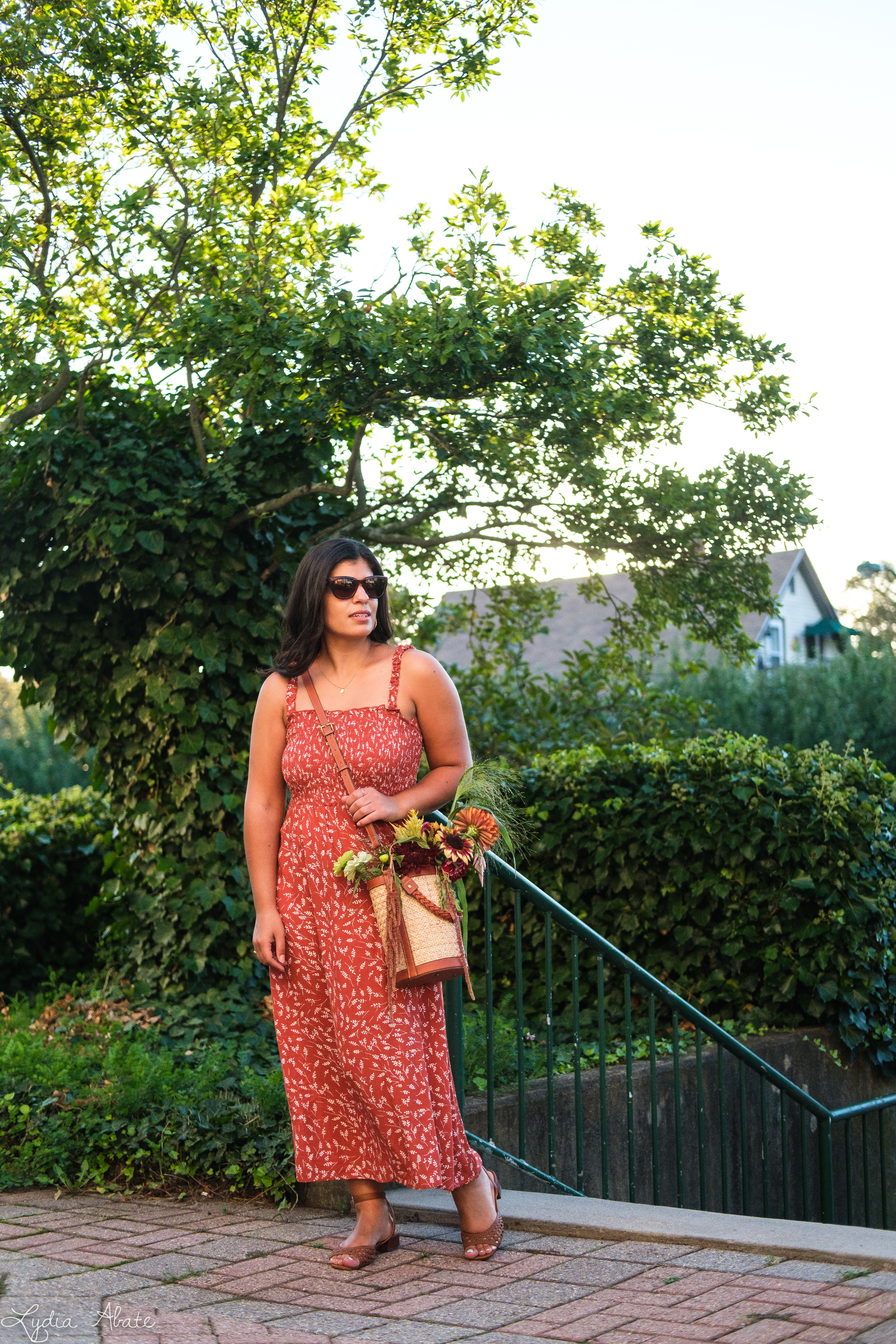 shirred rust floral maxi dress, caned bucket bag, brown sandals-10.jpg