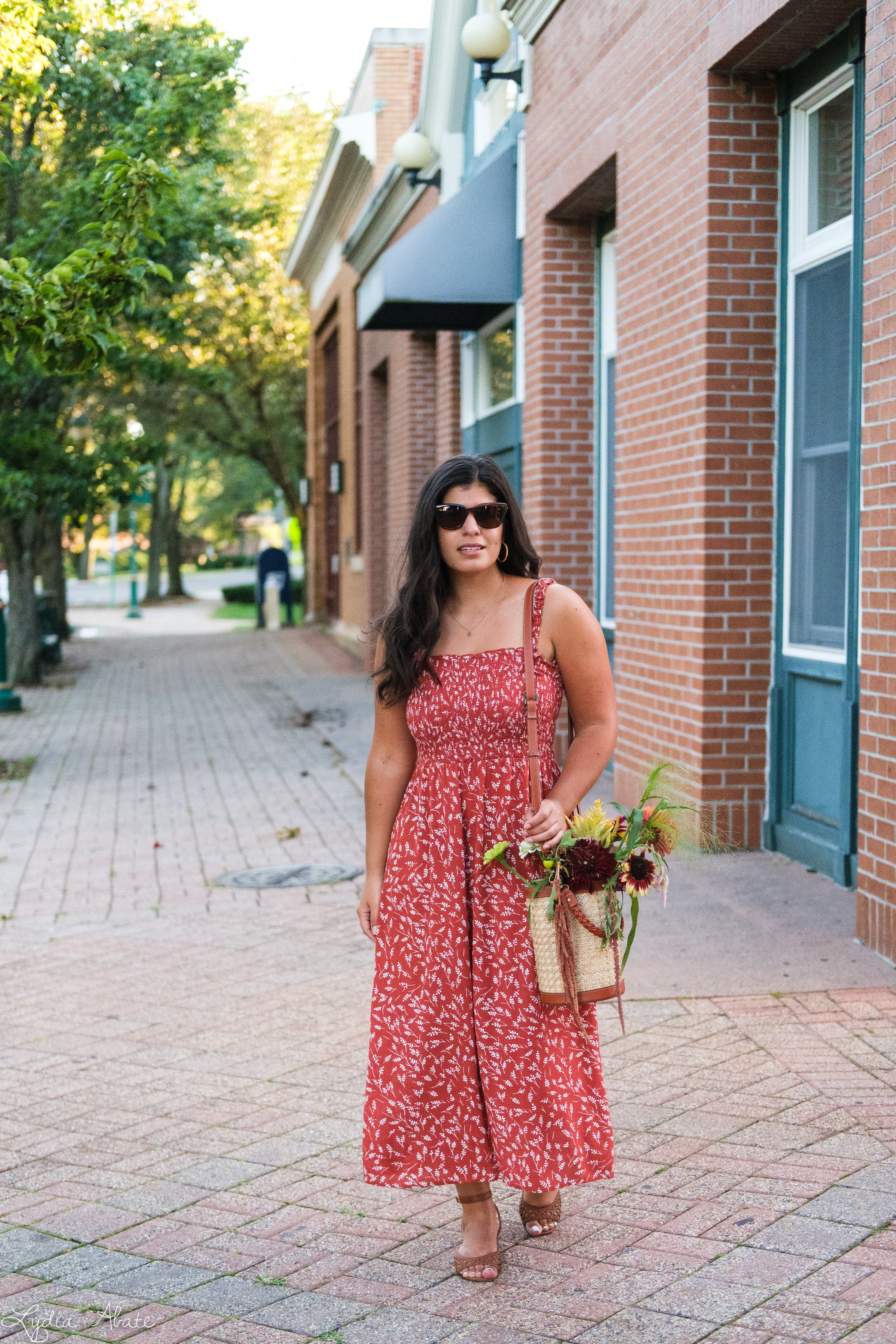 shirred rust floral maxi dress, caned bucket bag, brown sandals-1.jpg