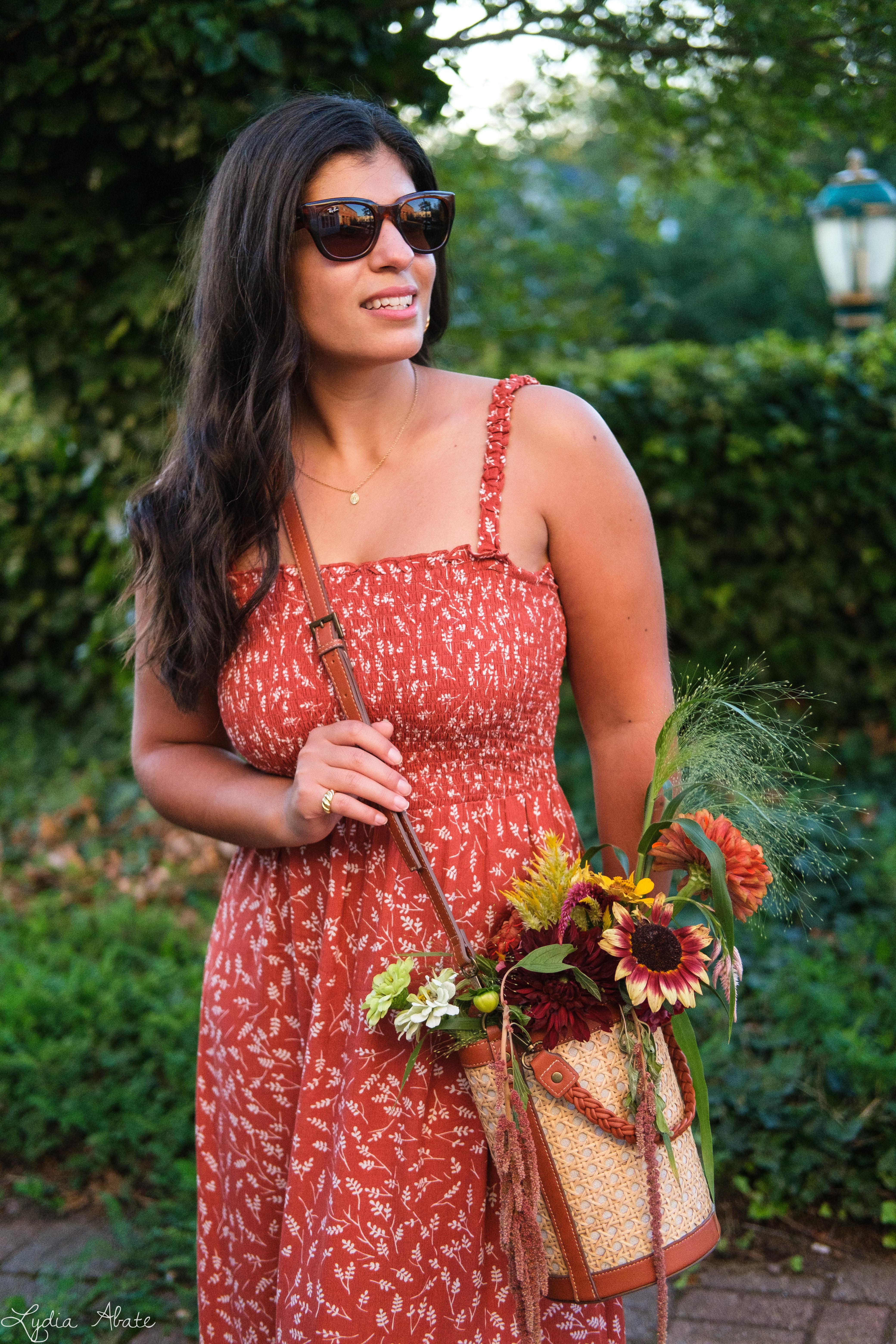 shirred rust floral maxi dress, caned bucket bag, brown sandals-12.jpg
