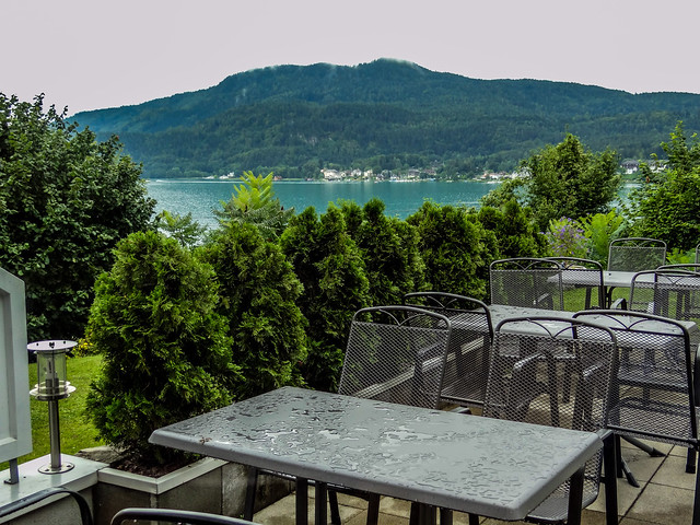 Tables with view of the Lake Wörth in Carinthia, Austria.