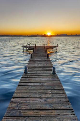 sunrise lake landscape drenthe jetty morning