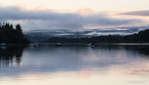 dumfries galloway peterstarling scotland uk unitedkingdom summer fog water lake loch cloud boat sunset marina calm glen laggan glenlaggan cl