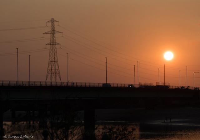 Sunset over the Loughor Bridge
