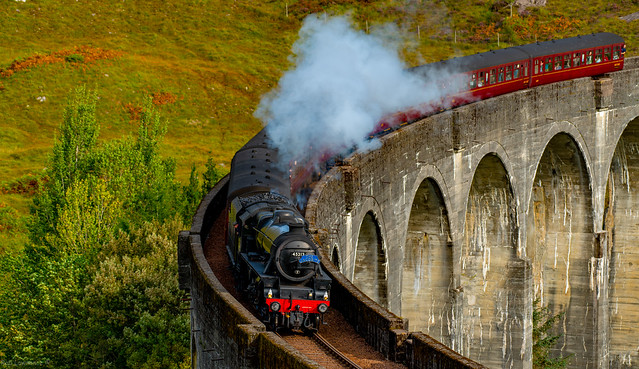 45212 The Jacobite on the Glenfinnan Viaduct  from Fort William to Mallaig 20/09/2020. (The Harry Potter Bridge)