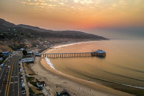malibupier malibu california unitedstates pier ocean drone
