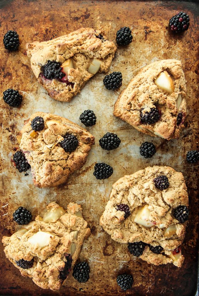 Pear Blackberry Cinnamon Scones (gluten-free and vegan) from heatherchristo.com