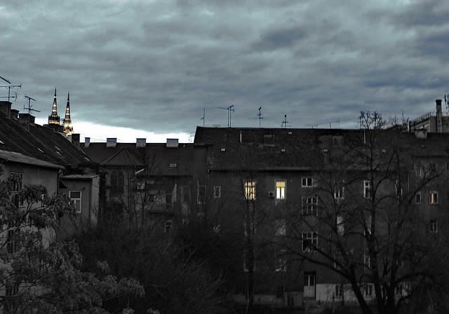 Winter city scene