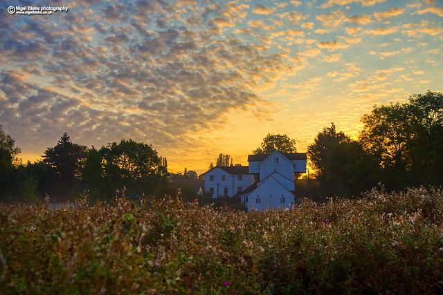 Little Hallingbury Mill at sunrise.
