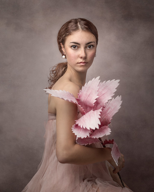 Woman with Pink Dress and Flowers
