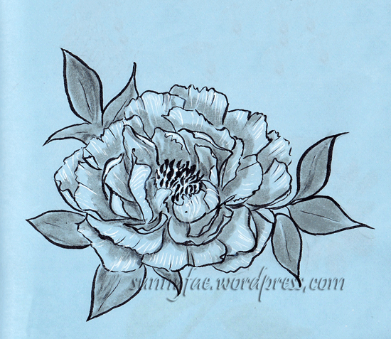 peony drawn with a brush pen