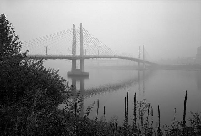 Tilikum Crossing in Wildfire Smoke, Portland
