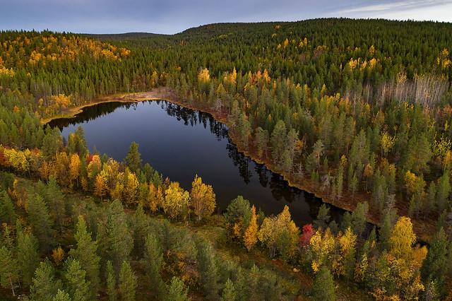 Landscape of the autumn in Lapland