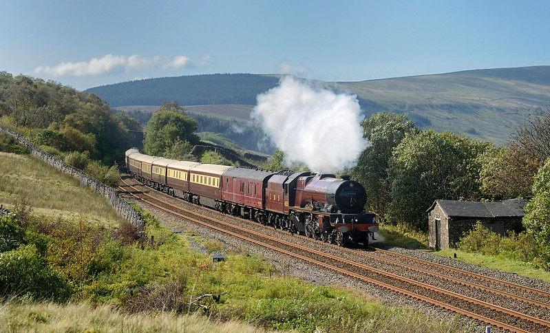 Lizzie passing the site of the water troughs with the Northern Belle to Carlisle on 19/9/2020.Telephoto version Copyright David Price No unauthorised use