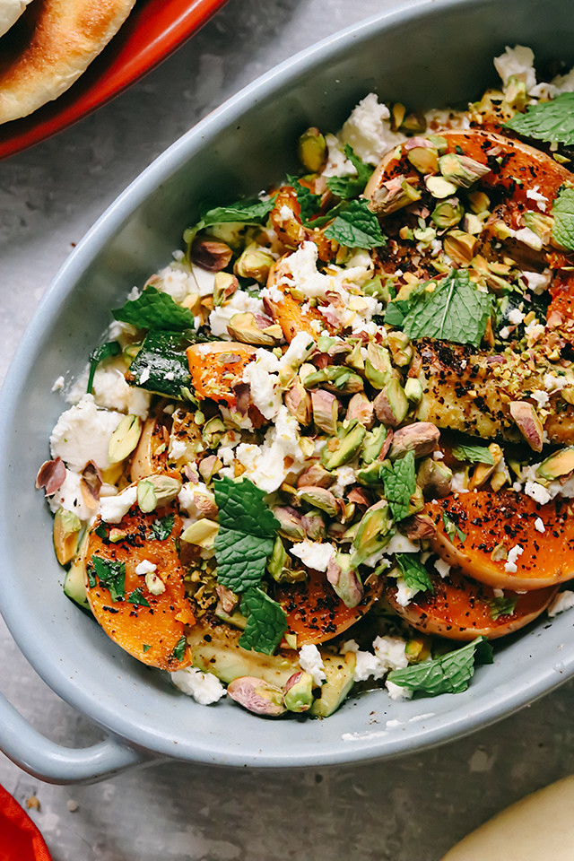 Roasted Butternut Squash and Zucchini with Whipped Feta and Pistachios