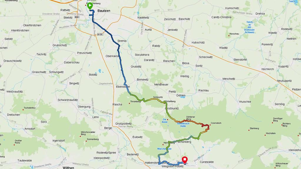 Garmin-Aufzeichnung Bautzen - Cunewalde am 10.08.2020 (Screenshot, Trackfarbe: Höhe)