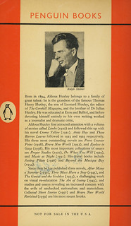 Penguin Books 1050 - Aldous Huxley - Eyeless in Gaza (back)