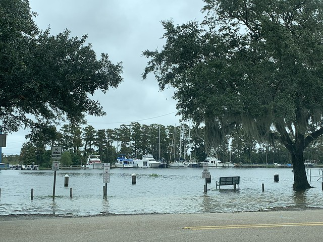 High water along the Tchefuncte River in Madisonville, Louisiana