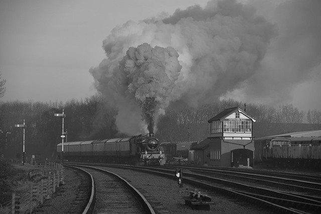 Steam Volcano - Locomotive No.4953 'Pitchford Hall' restarts after a signal check at Swithland, with the Blood & Custard rake of carriages. Great Central Railway. 05 02 2020