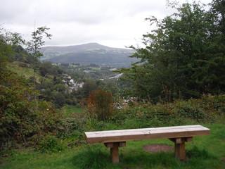 Bench with Views: Sugar Loaf from Llannelly Quarry SWC Walk 371 The Clydach Gorge (Brynmawr to Abergavenny or vice versa)