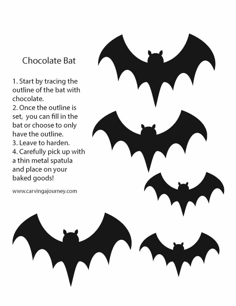 Tracing guide for spooky bats (Halloween treats)