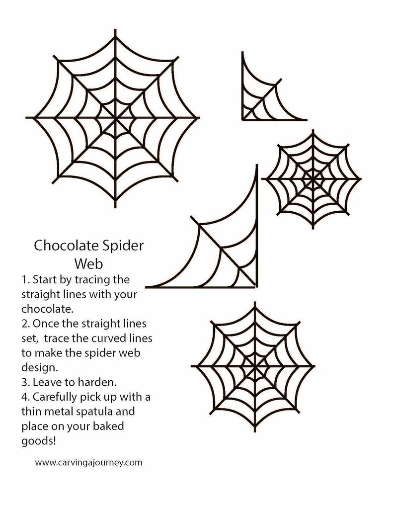 Tracing guide for spooky spider webs (Halloween treats)