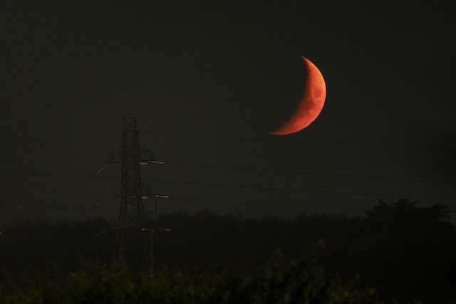 Tonight's Harvest Moon over Hamworthy