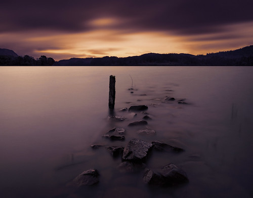 sunset night loch dusk stones longexposure scotland