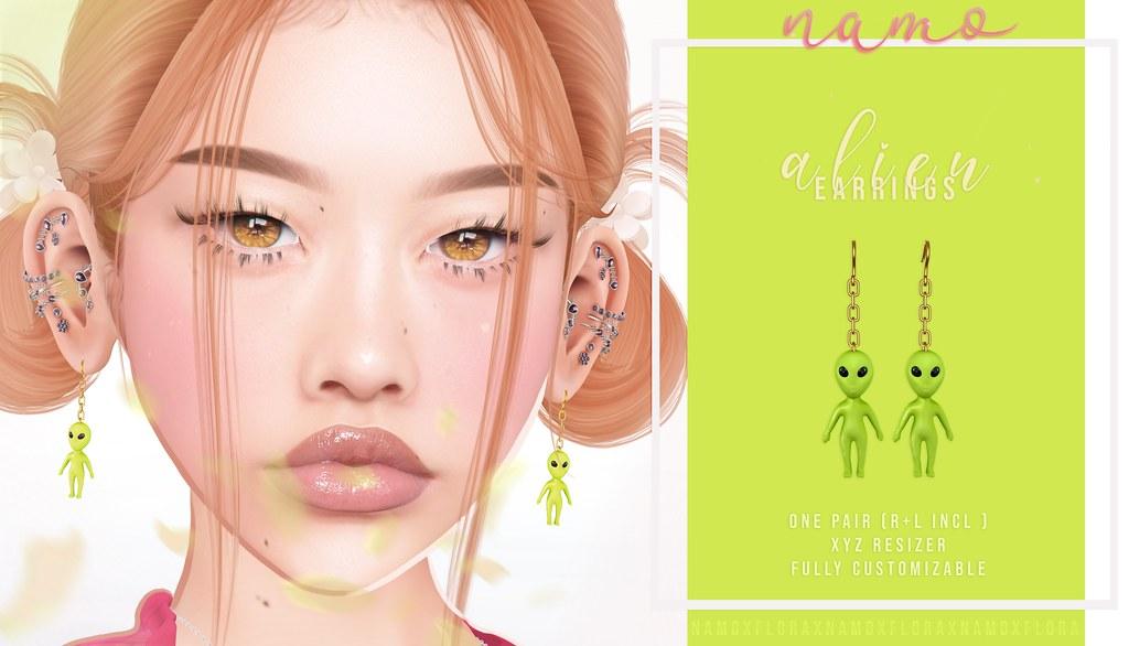 namo. alien earrings @FLORA
