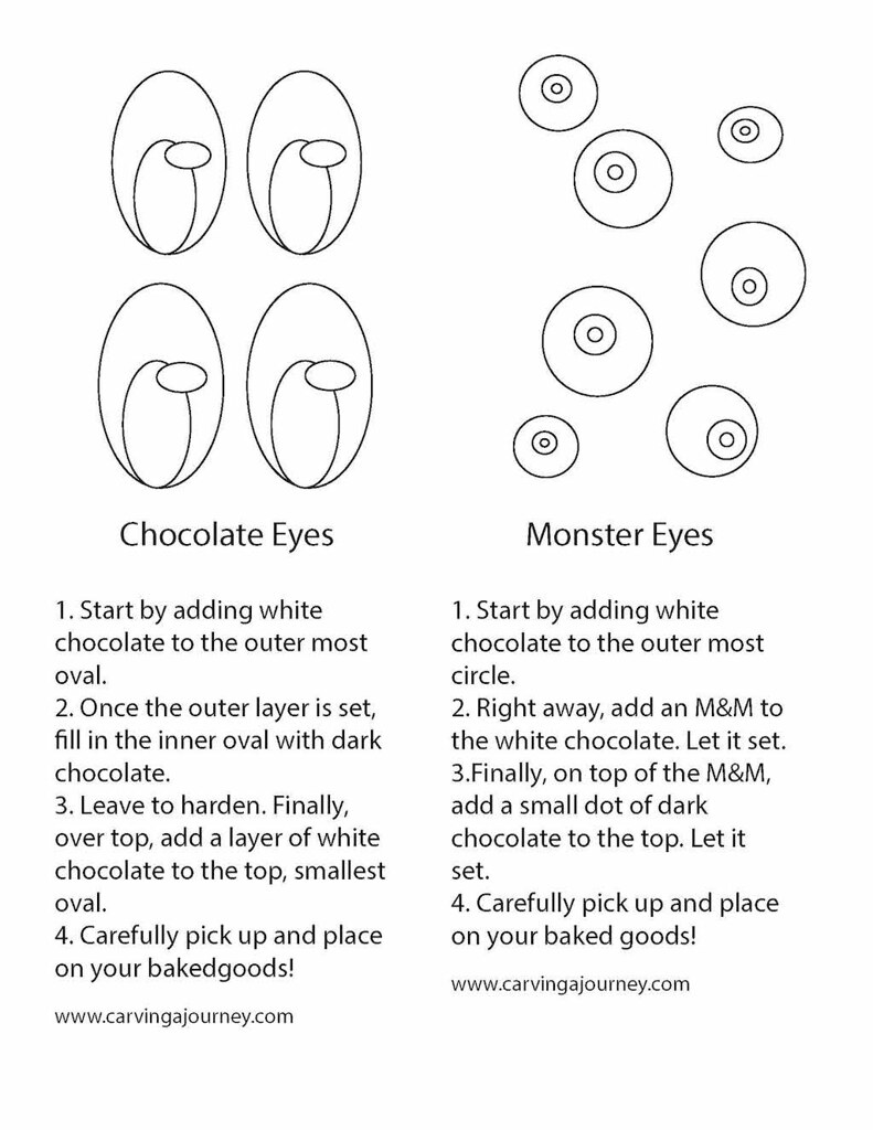 Tracing guide for spooky eyes (Halloween treats)