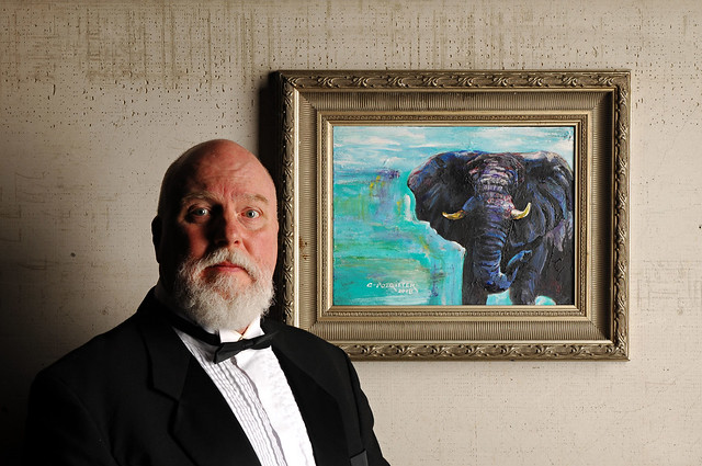 Portrait with a  Pachyderm Painting by the Artist Celeste Potgieter