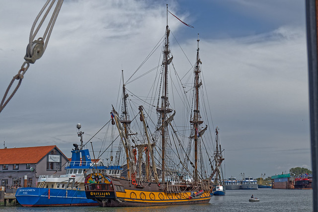 Antique Russian sailing boat in port of Texel