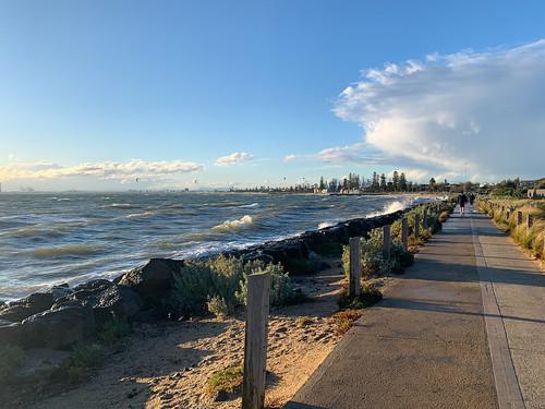 windy melbourne brighton beach waves australia spray sunset clouds