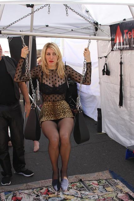 SEXY SWINGER SWINGING on a SLING ! ~ FOLSOM STREET FAIR 2017 ! ( safe photo )
