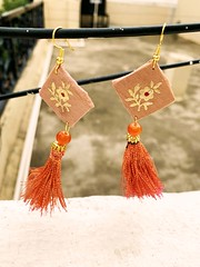 Hand-made Square Shape Light Brown Color Earring