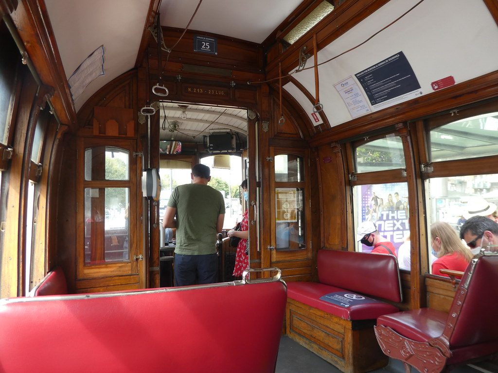 On board an heritage tram in Porto