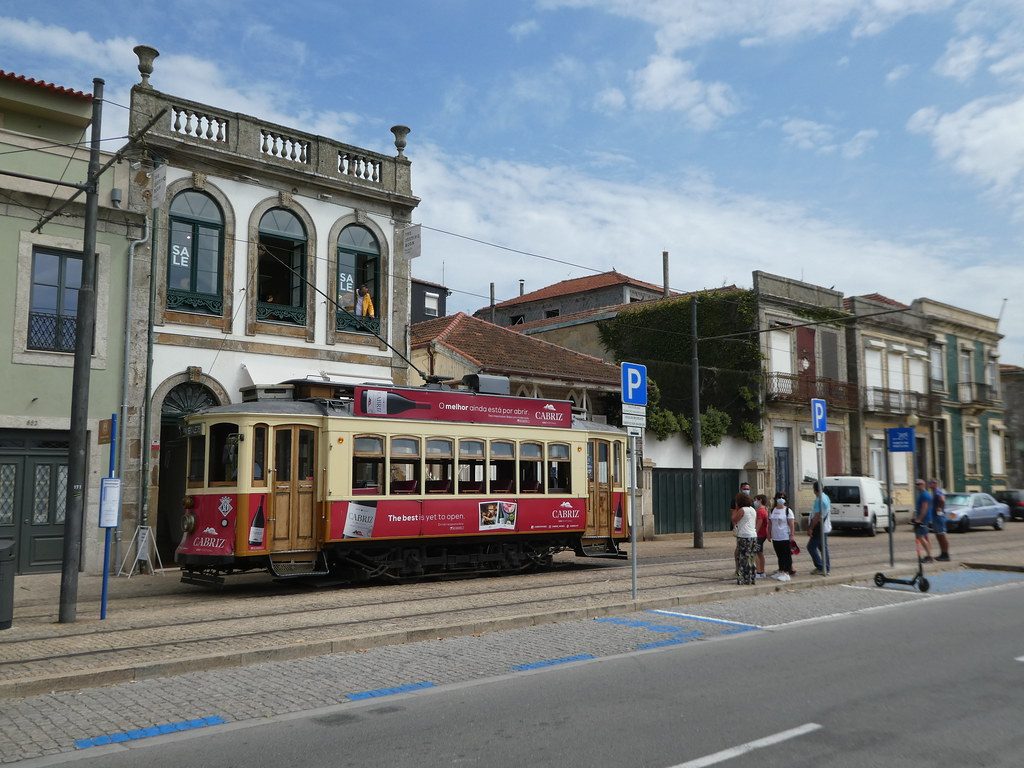 Heritage Tram Line 1 at its terminus in Foz, Porto