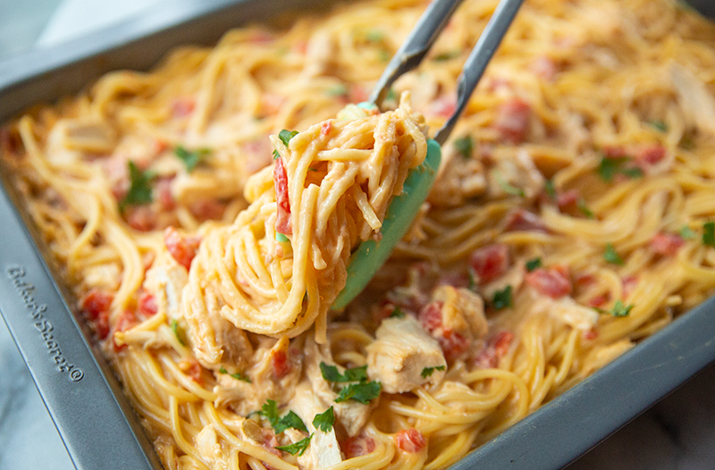 The BEST Cheesy Chicken Spaghetti From Scratch