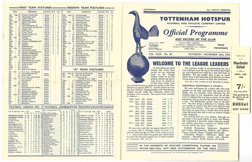 Tottenham Hotspur v Manchester United League Division One Season 1956-7