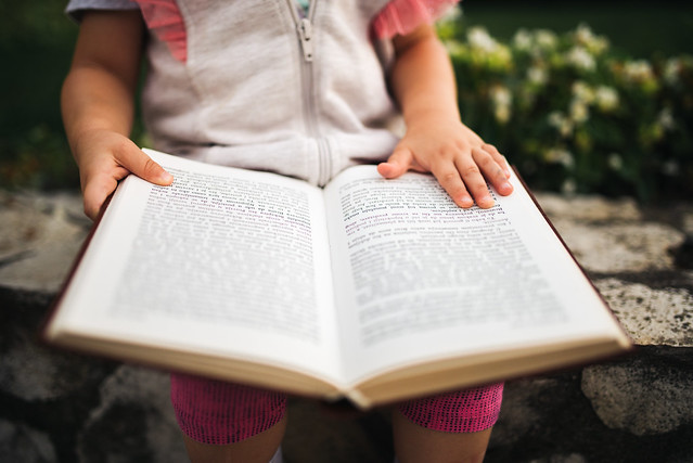 Curious young girl learning to read a book