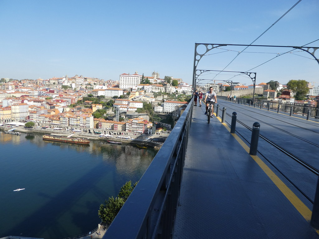 Along the upper tier of the Luis I bridge in Porto